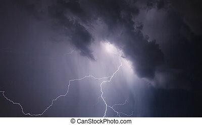 dramatisch, wolkenhimmel, Blitz