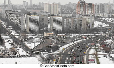 view of the development of Moscow winter day timelapse -...