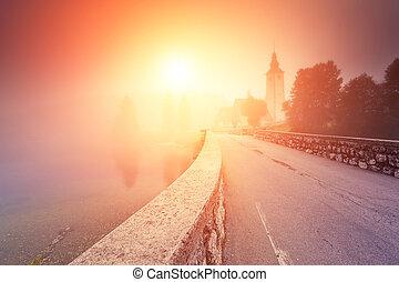 morning on the lake - Majestic colorful foggy morning scene...