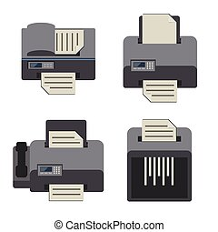 Office electronics Flat icons set