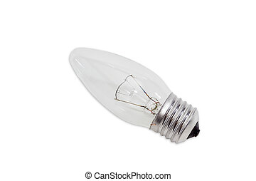 Incandescent light bulb on a light background - Electric...