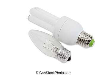 Incandescent light bulb and compact fluorescent lamp -...