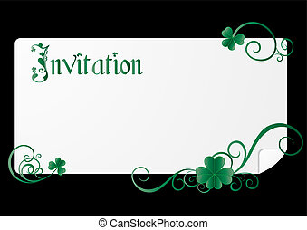 St Patrick`s day invitation on black background, vector...