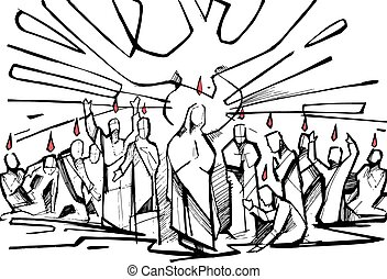 Pentecost - Hand drawn vector illustration or drawing of the...