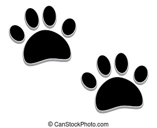 Tridimensional paw prints - A pair of tridimensional animal...