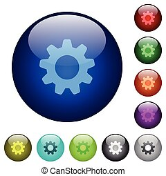 Color settings glass buttons - Set of color settings glass...