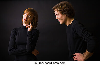 What are You Thinking About? - portrait of a couple: man is...