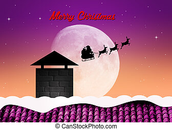 sleigh of Santa Claus in the moonlight