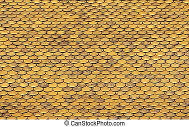 Golden Roof Tiles Pattern - Close up of Golden Roof Tiles...