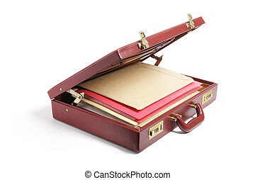 File Folders in Briefcase on White Background