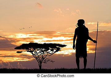 Masai - illustration of Masai in African landscape