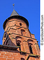 Collonges-la-Rouge - Church tower in Collonges-la-Rouge,...