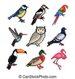 Pixel birds for games icons vector set - Pixel birds for...