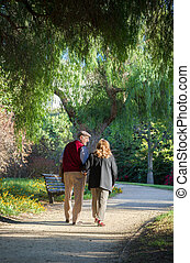 Senior couple walking in the park in Spain They are 75 years...