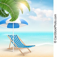 Beach with palm clouds sun umbrella and beach chair. Summer