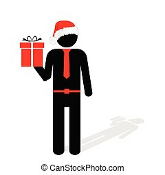 man with christmas hat red vector silhouette illustration