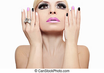 Fashion makeup and manicure.