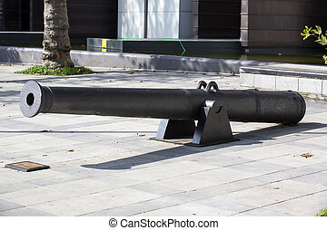 old naval cannon in the park - The old naval cannon near the...