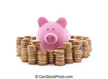 Piggy bank with stacks of coins