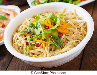 Noodles cooked in a miso broth - Delicate noodles cooked in...