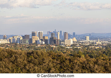 Century City and Downtown Los Angeles in Late Afternoon Light