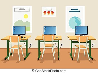 Illustration of an empty classroom - Vector illustration of...