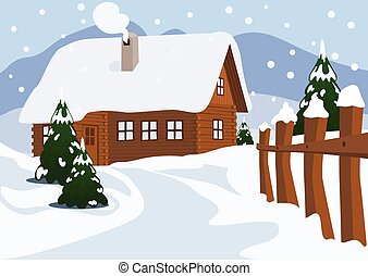 Chalet in Winter, Vector Illustration