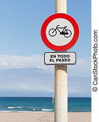 Bicycle traffic is limited - road sign - bike traffic on the...