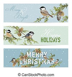 Christmas Banners, Labels, Tags - Vintage Winter Birds -  in vector