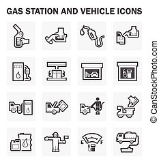 Gas station and vehicle icons sets.