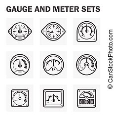 Gauge meter - Gauge and meter icons sets easy to adjust...