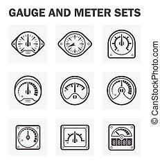 Gauge meter - Gauge and meter icons sets. (easy to adjust...