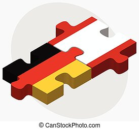 Germany and French Polynesia Flags in puzzle isolated on...