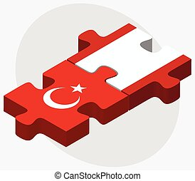 Turkey and French Polynesia Flags in puzzle isolated on...