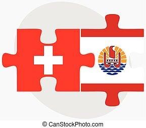 Switzerland and French Polynesia Flags in puzzle isolated on...