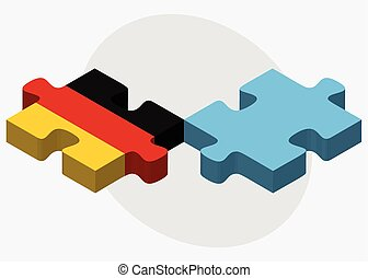 Germany and Fiji Flags in puzzle isolated on white...