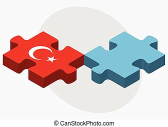 Turkey and Fiji Flags in puzzle isolated on white background