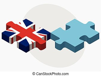 United Kingdom and Fiji Flags in puzzle isolated on white...