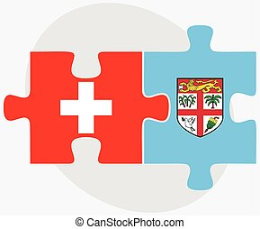 Switzerland and Fiji Flags in puzzle isolated on white...