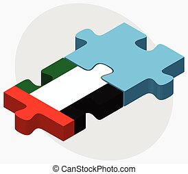 United Arab Emirates and Fiji Flags in puzzle isolated on...