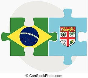 Brazil and Fiji Flags in puzzle isolated on white background