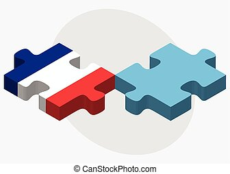 France and Fiji Flags in puzzle isolated on white background