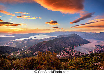 Bay of Kotor on a beautiful sunset, Montenegro