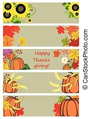 Autumnal banners for thanksgiving day