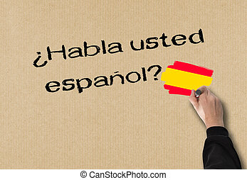 Do you speak Spanish - Business Man writes in spanish, (Do...