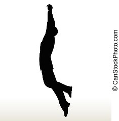silhouette of businessman hanging - illustration in...