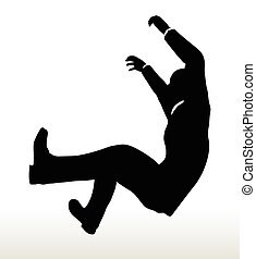silhouette of businessman underhanging - illustration in...