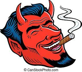 Laughing Devil Face Smoking Cigar - Cartoon illustration of...