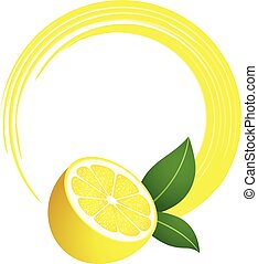 Fresh lemon round frame - Scalable vectorial image...