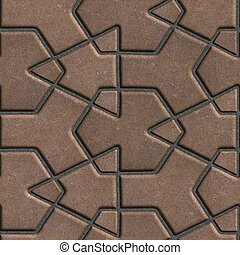 Brown Paving Slabs Built of Crossed Pieces a Various Shapes....